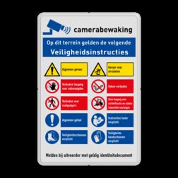 Veiligheidsbord | 10 symbolen + banners Wit, (RAL 9016 - wit), PAS OP!, Terrein betreden op eigen risico, Verboden toegang Art 461, , W002 - Gevaar voor explosieve stoffen, P003 - Vuur, open vlam en roken verboden, M003 - Gehoorbescherming verplicht