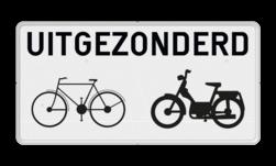 Onderbord uitgezonderd (brom-)fietsers Onderbord België M2 - Uitgezonderd (brom)fietsers M2 wit bord, fiets, brommer, uitgezonderd, uitzondering, OB54, Excepte