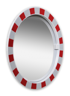 Product Verkeersspiegel acryl Ø600mm met extra opvallend rood/wit kader Verkeersspiegel Acryl rond 600mm Jislon, verkeerspiegel, veiligheidspiegel, veiligheidsspiegel, buitenspiegel