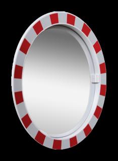 Product Verkeersspiegel acryl Ø600mm met extra opvallend rood/wit kader Verkeersspiegel Acryl rond 60cm Jislon, verkeerspiegel, veiligheidspiegel, veiligheidsspiegel, buitenspiegel