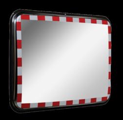 Verkeersspiegel RVS 600x450mm verkeersspiegel, verkeer, spiegel, staal, rvs, rood, wit, kader, opvallend, RVS