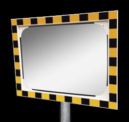 Veiligheidsspiegel acryl geel/zwart 600x400mm met extra opvallende rand Jislon, verkeerspiegel, veiligheidspiegel, veiligheidsspiegel, buitenspiegel, magazijnspiegel, industriespiegel, productie