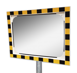 Veiligheidsspiegel geel/zwart 600x400mm met extra opvallende rand Jislon, verkeerspiegel, veiligheidspiegel, veiligheidsspiegel, buitenspiegel, magazijnspiegel, industriespiegel, productie