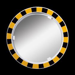 Veiligheidsspiegel acryl geel/zwart rond 600mm met extra opvallende rand veiligheidsspiegel, opvallend, magazijn, industrie, acryl,