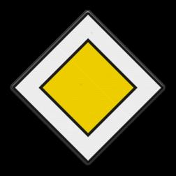 Verkeersbord Je rijdt op een voorrangsweg Verkeersbord RVV B01 - Voorrangsweg B01 voorrangsweg, oranjebord, voorrang, vierkant bord, B1