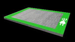 Markering - wegenverf -  Oplaadpunt G3-stekker - kader wegmarkering, grondmarkering, vloermarkering, vloer, markering, weg, grond, opladen, oplaad, elektrisch, parkeren, wegenverf, thermoplast, groen, blauw, parkeervak, belijning, symbool, pictogram, markeer, terrein, vloer, parkeergarage, garage