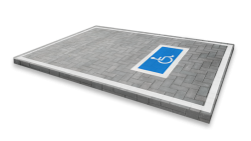 Markering - wegenverf -  MIVA parkeren wegmarkering, grondmarkering, vloermarkering, vloer, MIVA, minder, valide, E06, markering, weg, grond, opladen, oplaad, elektrisch, parkeren, wegenverf, thermoplast, blauw, parkeervak, belijning, symbool, pictogram, markeer, terrein, vloer, parkeergarage, garage
