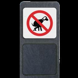 Verzwaarde bermpaal met bord 'verboden honden uit te laten' buitengebied, huisnummer, nummer, huis, buiten, gebied, paal, Modern, huisnummerbord, Huisnummerpaal, Huisnummerpalen, honden, aan, de, lijn, bermpaal, bermplank, aangelijnd, aanlijnen, hondenpoep, honden, poep, uitlaat, uitlaten, uitlaatplek, verboden, niet, toegestaan,