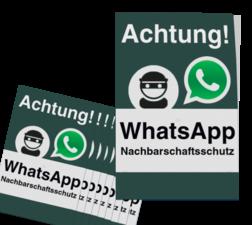 WhatsApp - Achtung Nachbarschaftsschutz Aufkleber (10 Stück) Whats App, WhatsApp, watsapp, preventie, attentie, buurt, L209, wijkpreventie, straatpreventie, dorpspreventie, Achtung, Nachbarschaftsschutz, Aufkleber, set