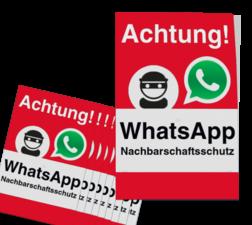 WhatsApp - Achtung Nachbarschaftsschutz Aufkleber (10 Stück) - Rot Whats App, WhatsApp, watsapp, preventie, attentie, buurt, L209, wijkpreventie, straatpreventie, dorpspreventie, Achtung, Nachbarschaftsschutz, Aufkleber, set