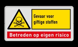 Waarschuwingsbord W016 - Gevaar giftige stoffen met tekstblok W016, W04, gevaar, giftige, stoffen, hazardous, enviroment, nen, iso, richtlijnen, veiligheid, symbool, pictogram, symbolen, eigen, risico