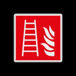 Product F003 - Ladder Brand bord F003 - Ladder Brand, trap, locatie, vuur, blussen, vluchten, brandweerladder, ladder, Brandbestrijdingsteken, brandbestrijdingspicto
