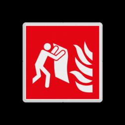 Product F016 - Brandblusdeken Brand bord F016 - Brandblusdeken Brand, trap, locatie, vuur, blussen, vluchten, Brandblusdeken, blusdeken, Brandbestrijdingsteken, brandbestrijdingspicto