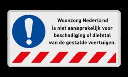 Informatiebord - Niet aansprakelijk voor schade - vrije tekst Dragen, vast, veiligheid, verplicht, M015, G38