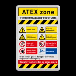 Veiligheidsbord ATEX zone met 8 pictogrammen veiligheid, instructies, bord, signalisatie, safety, instructions, waarschuwing, warning, danger, gebod, verbod, verboden, toegang, gevaar, vest, helm, schoenen, verplicht, camera, video, bewaking, toezicht, atex, explosie, stoffen, magnetisch, elektrische, spanning