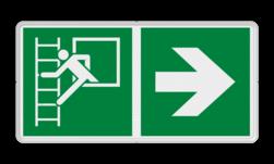Product E016 - Vluchtraam met brandladder Vluchtroute bordje E016 - Vluchtraam met brandladder + Pijl Rechts veiligheid, bord, instructie, redding, evacuatie, vlucht, route,  Nooduitgang brandtrap, Pijl rechts, evacuatievenster, vluchtraam, E016, vluchtroutebord, reddingsmiddelbord, evacuatie, evacuatiebord, veiligheidspictogram, veiligheidsbord, Nooduitgang pictogrammen, Vluchtrouteaanduiding, Verzamelplaats pictogram, Reddingspictogram, nooduitgang symbool, teken, icoon, symbolen, reddingsborden, bhv bord