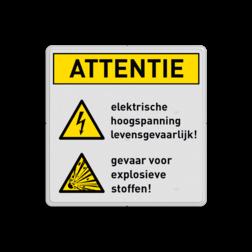 Waarschuwingsbord W012 / W002 - Gevaar voor hoogspanning en explosieve stoffen Waarschuwingsbord W012 + W002 - Gevaar voor hoogspanning en explosieve stoffen veiligheid, instructies, bord, gehoor, oog, bescherming, verplicht, vest, helm, gebod, voorschriften, regels, informatie, attentie, verboden, niet, toegestaan, camera, video, fotograferen, roken, open, vuur, brand, rook, elektrische, hoogspanning, explosieve, stoffen, levensgevaarlijk