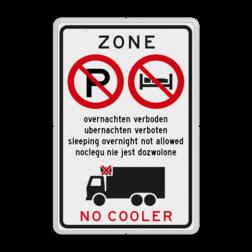 Informatiebord - Overnachten en/of gebruik cooler verboden vrachtauto, vrachtwagen, verboden, niet parkeren, cooler, zone, vrachtwagens, E201, overnachten, verbodebn, toegestaan, slapen, terrein, eigen