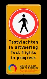 Tijdelijk bord C16 met tekst en logo