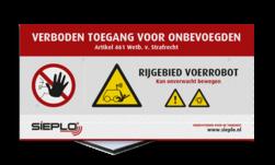 Product Algemene waarschuwing Veiligheidspictogram - Waarschuwing bewegende mechanische delen / Robot + logo / in huisstijl Algeem, waarschuwing, pas op