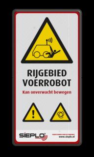 Product Algemene waarschuwing Veiligheidspictogram - Waarschuwing onverwacht bewegende Robot + logo / in huisstijl Algeem, waarschuwing, pas op