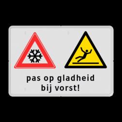 Waarschuwingsbord Waarschuwing voor gladheid bij vorst Waarschuwingsbord | Pas op gladheid bij vorst glad, sneeuw, ijsvorming, inrit, uitrit, glad, uitglijden, gevaar, waarschuwing, vallen