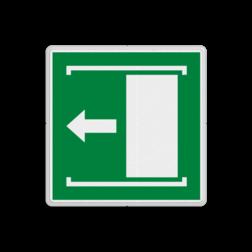 Product E034 - Deur naar links schuiven om te openen Vluchtroute bordje E034 - Deur naar links schuiven om te openen Open, schuifdeur, openen, links, vluchtroutebord, reddingsmiddelbord, vluchtroutebord, reddingsmiddelbord, evacuatie, evacuatiebord, veiligheidspictogram, veiligheidsbord, Nooduitgang pictogrammen, Vluchtrouteaanduiding, Verzamelplaats pictogram, Reddingspictogram, nooduitgang symbool, teken, icoon, symbolen, reddingsborden, bhv bord