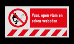 Verbodsbord P003 - Rook en open vuur verbod + vaste tekst Rook, roken, open, vuur, vuren, vlam, verboden, niet, toegestaan, P003, V03