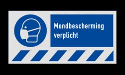 Gebodsbord M016 - Mondbescherming verplicht veiligheid, bord, nen, richtlijnen, iso, 7010, instructies, gebod, mond, bescherming, kapje, verplicht