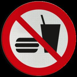 Product Eten en drinken verboden Pictogram P022 - Eten en drinken verboden P022 eten, verboden te eten, verboden eten mee te nemen, eten, voedsel, drinken, food, verboden, drinken, eten en drinken, drinkbeker, hamburger, verboden, pictogram, symbool, teken, NEN, 7010,  reflecterend, sticker, klasse 1, klasse 3, vlak, bordje, paneel, kunststof, aluminium, veiligheid