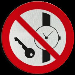 Product Metalen voorwerpen zoals horloges verboden Pictogram P008 - Metalen voorwerpen zoals horloges verboden P008 tijd, klok, slot, sloten, horloges, metalen, voorwerpen, sleutels, verboden, toegang, voor, pictogram, symbool, teken, NEN, 7010,  reflecterend, sticker, klasse 1, klasse 3, vlak, bordje, paneel, kunststof, aluminium, veiligheid, verbod,