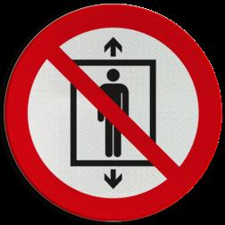 Product Lift voor personen verboden Pictogram P027 - Lift voor personen verboden P027 lift, trap, verboden, mensen, pictogram, symbool, teken, NEN, 7010,  reflecterend, sticker, klasse 1, klasse 3, vlak, bordje, paneel, kunststof, aluminium, veiligheid, verbod,