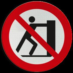 Product Verboden te duwen Pictogram P017 - Verboden te duwen P017 Lepels, niet duwen, drukken, verboden, pictogram, symbool, teken, NEN, 7010,  reflecterend, sticker, klasse 1, klasse 3, vlak, bordje, paneel, kunststof, aluminium, veiligheid, verbod