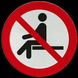 Product Verboden te zitten Pictogram P018 - Verboden te zitten P018 Lepels, zitten, liggen, niet neerzitten, niet gaan zitten, verboden, pictogram, symbool, teken, NEN, 7010,  reflecterend, sticker, klasse 1, klasse 3, vlak, bordje, paneel, kunststof, aluminium, veiligheid, verbod,