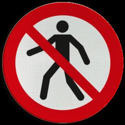 Product Verboden voor voetgangers Pictogram P004 - Verboden voor voetgangers P004 Toegang, voetgangers, voetganger, verboden, pictogram, symbool, teken, NEN, 7010,  reflecterend, sticker, klasse 1, klasse 3, vlak, bordje, paneel, kunststof, aluminium, veiligheid, verbod,