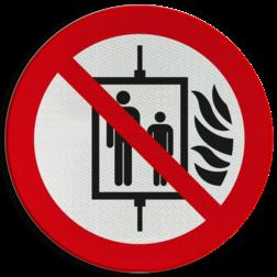Product Bij brand lift niet gebruiken Pictogram P020 - Bij brand lift niet gebruiken P020 Lift, brand, personen, brand, verboden, pictogram, symbool, teken, NEN, 7010,  reflecterend, sticker, klasse 1, klasse 3, vlak, bordje, paneel, kunststof, aluminium, veiligheid, verbod,