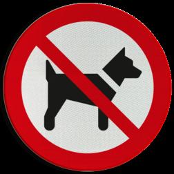 Product Verboden voor honden Pictogram P021 - Verboden voor honden P021 Hond, Honden, dieren, Verbod, verboden, pictogram, symbool, teken, NEN, 7010,  reflecterend, sticker, klasse 1, klasse 3, vlak, bordje, paneel, kunststof, aluminium, veiligheid,