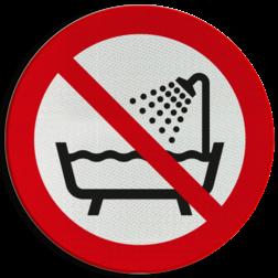 Product Verboden om dit product onder douche of in bad te gebruiken Pictogram P026 - Verboden om dit product onder douche of in bad te gebruiken P026 Water, elektrocutie, gevaar, nat, kortsluiting, verboden, pictogram, symbool, teken, NEN, 7010,  reflecterend, sticker, klasse 1, klasse 3, vlak, bordje, paneel, kunststof, aluminium, veiligheid, verbod,