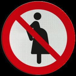 Product Verboden voor zwangere vrouwen Pictogram P042 - Verboden voor zwangere vrouwen P042 Zwanger, verwachting, uitgeteld, verwachten, verboden, pictogram, symbool, teken, NEN, 7010, reflecterend, sticker, klasse 1, klasse 3, vlak, bordje, paneel, kunststof, aluminium
