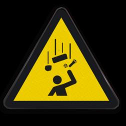 Product Gevaar voor vallende voorwerpen Pictogram W035 - Gevaar voor vallende voorwerpen W035 Vallende onderdelen, vallend materiaal, neervallen, omlaag vallen, onderdelen