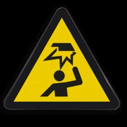 Product Gevaar voor hoofd stoten Pictogram W020 - Gevaar voor hoofd stoten W020 laag, hoog, plafond, hindernissen boven het hoofd, stoot gevaar, gevaar voor hoofd stoten,