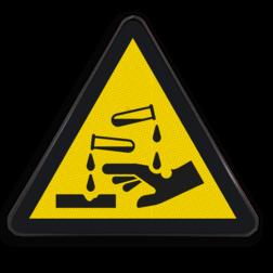 Waarschuwingsbord W023 - Gevaar voor bijtende stoffen Waarschuwingsbord W023 - Gevaar voor bijtende stoffen bijtende, stoffen, giftig, schadelijke stoffen, substantie