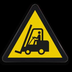 Product Gevaar voor vorkheftrucks en andere industriële voertuigen Pictogram W014 - Gevaar voor vorkheftrucks en andere industriële voertuigen W014 Pas op, hef, truck, stapellaar, heftrucks, Waarschuwingspictogram, let op, vorkheftrucks
