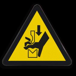 Product Gevaar voor beklemming in persbank Pictogram W030 - Gevaar voor beklemming in persbank W030 Zetbank, bank, handen, klemgevaar, hand, klemmen, zetten