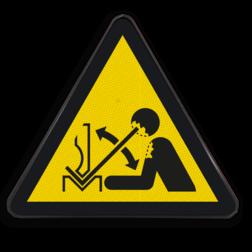 Product Gevaar voor sneldraaiend werkstuk in persbank Pictogram W032 - Gevaar voor sneldraaiend werkstuk in persbank W032 Zetbank, bank, handen, Beweging, hoofd, zetten, Omhoog
