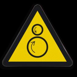 Product Gevaar voor indraaien Pictogram W025 - Gevaar voor indraaien W025 hand, handen, insteken, insteken, klem, vastzitten, beklemming, beklemd, geklemd, bekneld, gevaar voor handen, beknelling, indraaien, machine, tandwielen