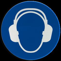 Gebodsbord M003 - Gehoorbescherming verplicht Gebodsbord M003 - Gehoorbescherming verplicht NEN7010, veiligheidspictogram, gehoor, oor, bescherming, oordoppen