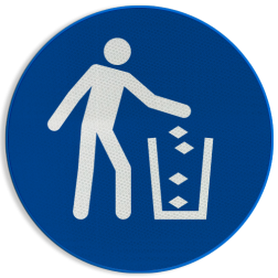 Product Afvalbak gebruiken Pictogram M030 - Afvalbak gebruiken M030 NEN7010, veiligheidspictogram, Afval, schoon, trash, afvalbal, weggooien,
