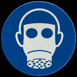 Product Ademhalingsbescherming verplicht Pictogram M017 - Ademhalingsbescherming verplicht M017 NEN7010, veiligheidspictogram, gasmasker, verplicht, gas, masker, Adem, bescherming