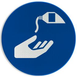 Product Beschermende handcrème verplicht Pictogram M022 - Beschermende handcrème verplicht M022 NEN7010, veiligheidspictogram, handen, reinigen, verplicht, Crème, Creme